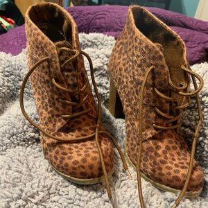 Cheetah print booties